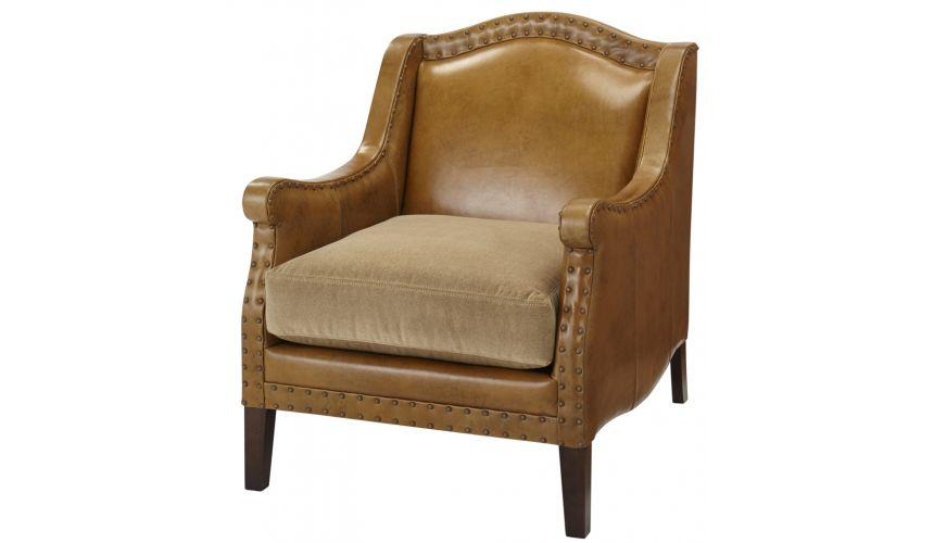 Luxury Leather & Upholstered Furniture Curved Backrest Arm Chair