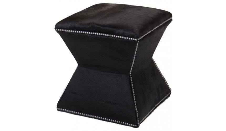 Luxury Leather & Upholstered Furniture Upholstered Ottoman with Nail Head Trims