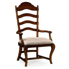 Country Style Curved Ladderback Dining Armchair