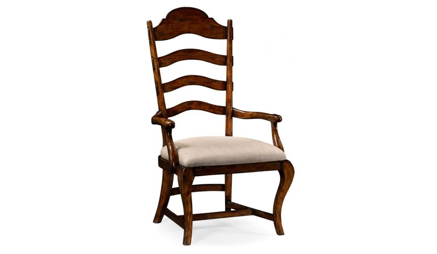 Dining Chairs Country Style Curved Ladderback Dining Armchair
