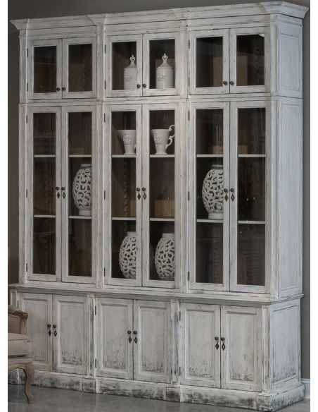 Breakfronts & China Cabinets Distressed Glass-Front Cabinet