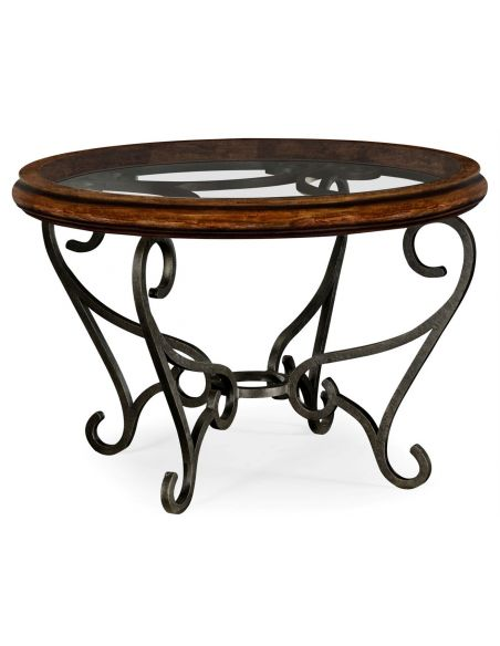 Coffee Tables Round Walnut Coffee Table with Glass Top Centre
