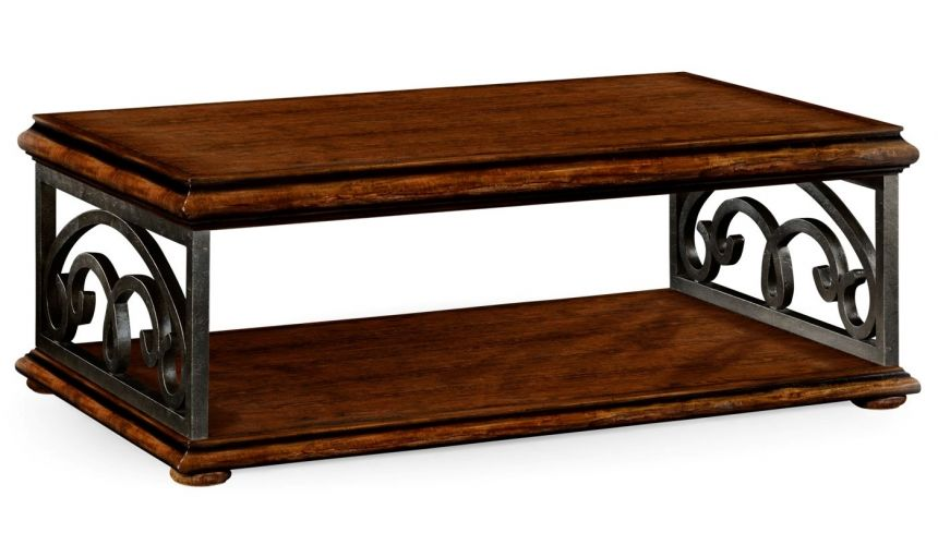 Coffee Tables Rectangular Walnut Coffee Table with Under Tier