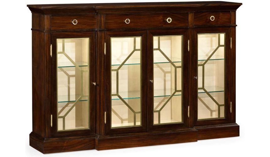Breakfronts & China Cabinets Elegant Breakfront Display Cabinet with 4 Doors