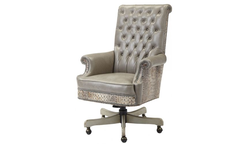 Luxury Leather & Upholstered Furniture Tufted Executed Computer Chair