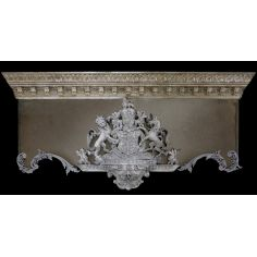 Drapery cornice with crest. Custom made.