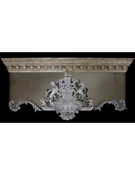 Furniture Masterpieces Drapery cornice with crest. Custom made.