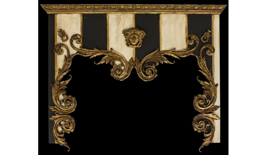 Furniture Masterpieces Drapery cornice with French stripe. Custom made.