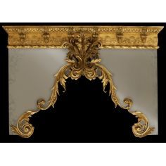Drapery cornice with gold finish. Custom made.
