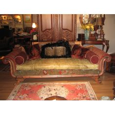 Duncan Phyfe sofa with green gator leather
