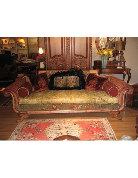 SOFA, COUCH & LOVESEAT Duncan Phyfe sofa with green gator leather