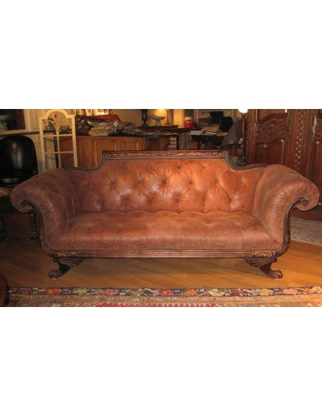 SOFA, COUCH & LOVESEAT Duncan Phyfe sofa tufted high quality leather