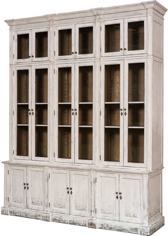 Breakfronts U0026 China Cabinets Distressed Glass Front Cabinet