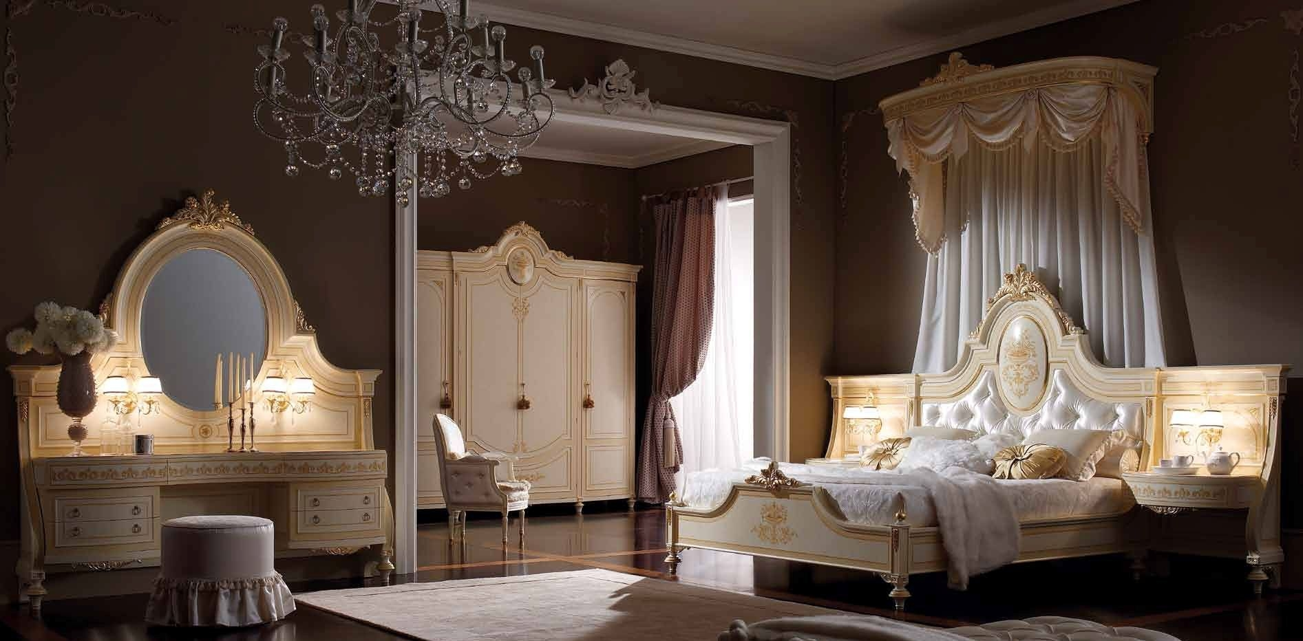 Elegant master bedroom with drapery crown.