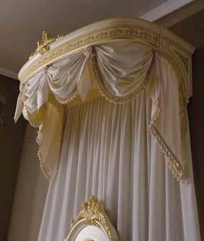 Elegant Master Bedroom With Drapery Crown