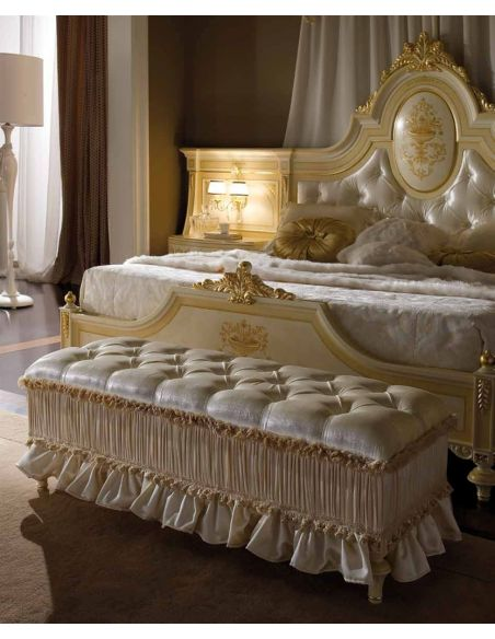 Queen and King Sized Beds Elegant master bedroom with drapery crown.
