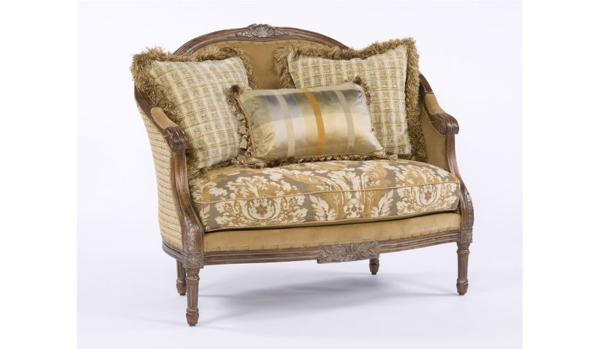 CHAIRS, Leather, Upholstered, Accent Elegant French Style Settee