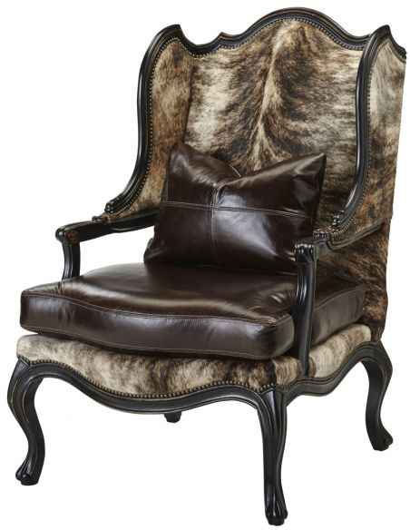 Luxury Leather & Upholstered Furniture Upholstered Wingback Chair with Nail Head Trims