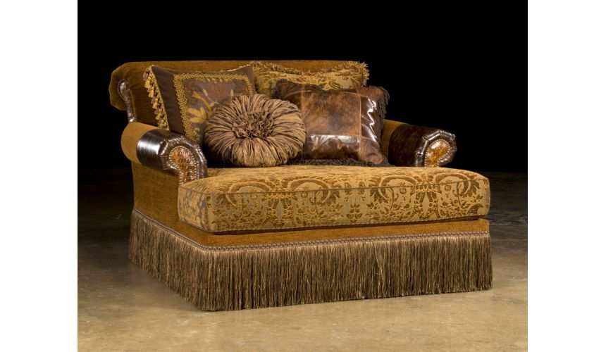 Luxury Leather & Upholstered Furniture Elegant style Chaise leather and fabric