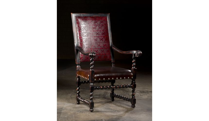 Dining Chairs Luxury Upholstered Furniture, Embossed Leather Arm Chair