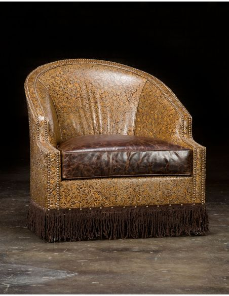 Luxury Leather & Upholstered Furniture Embossed Leather Club Chair