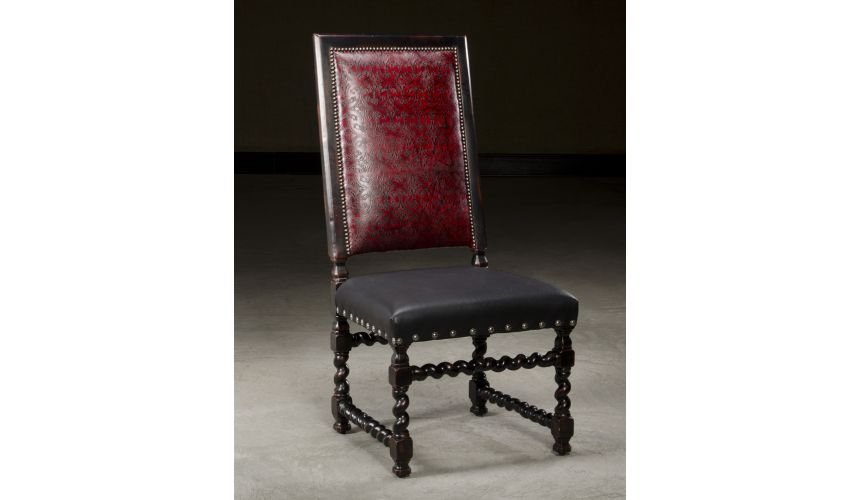 Dining Chairs Luxury Upholstered Furniture, Embossed Leather Side Chair