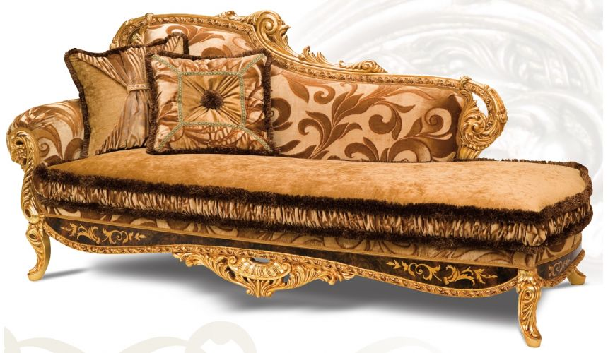 Luxury Leather & Upholstered Furniture Empire Style Chaise from the Liquid Assets Collection.