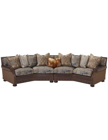 Luxury Leather & Upholstered Furniture Upholstered Sofa with Nail-Head Trims