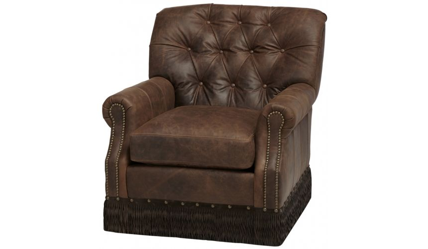 Luxury Leather & Upholstered Furniture Tufted Arm Chair with patterned footrest