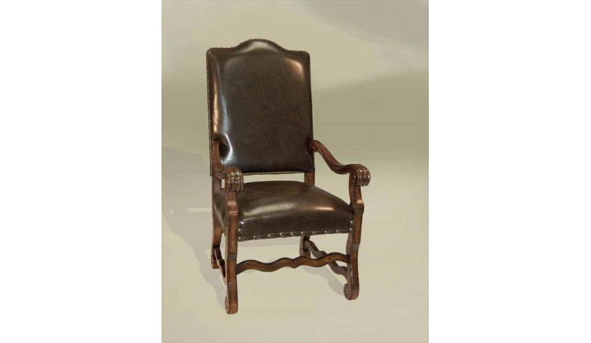 Dining Chairs Rustic Luxury Leather Furniture, Arm Chair, European Style