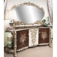 11 Exquisite marquetry work. Breakfront and matching mirror.