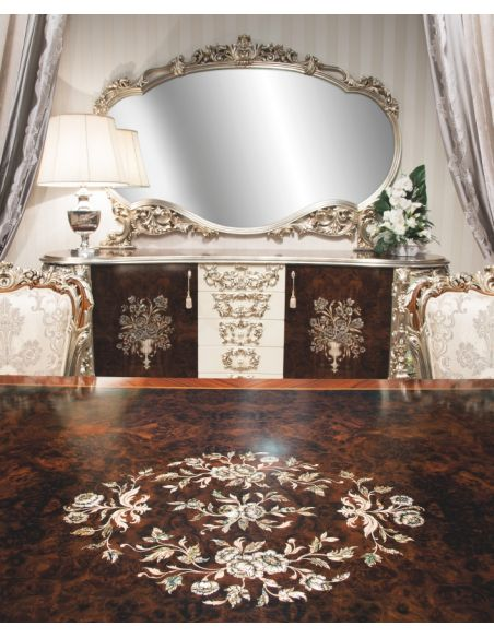 Breakfronts & China Cabinets 11 Exquisite marquetry work. Breakfront and matching mirror.
