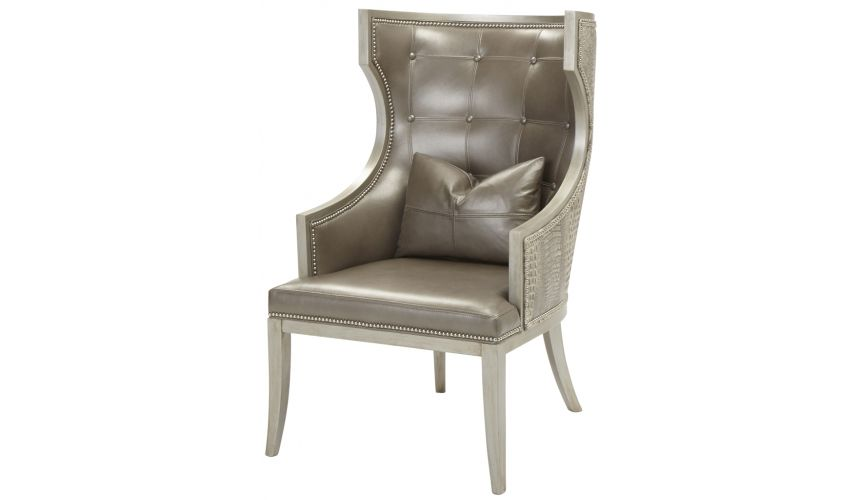 Luxury Leather & Upholstered Furniture Tufted Wingback Arm Chair