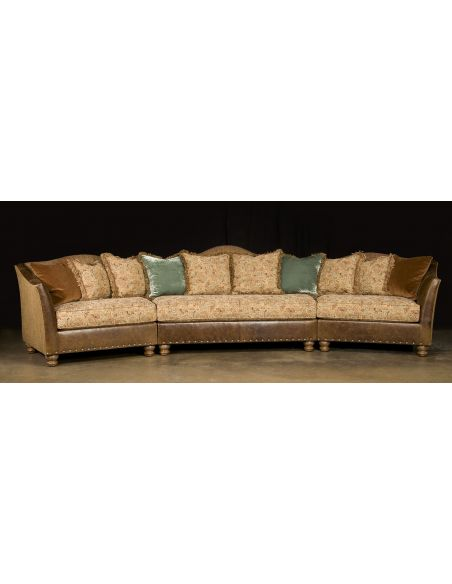 Luxury Leather & Upholstered Furniture Cozy Fabric and Leather Sectional