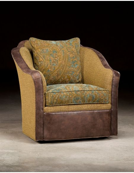 Luxury Leather & Upholstered Furniture Fabric and Leather Swivel Chair