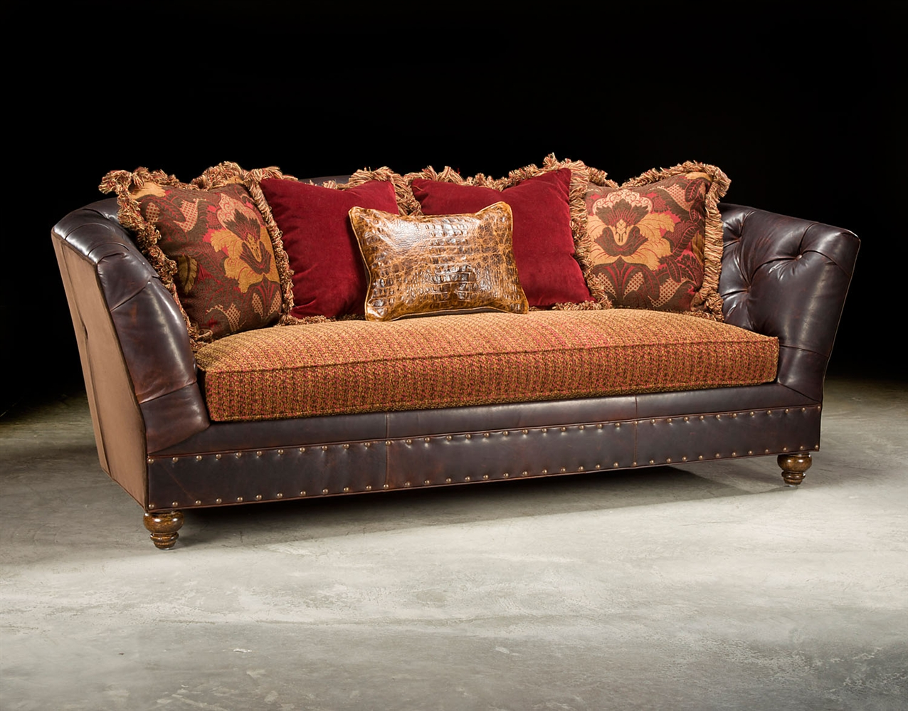 Fabric And Leather Tufted Sofa