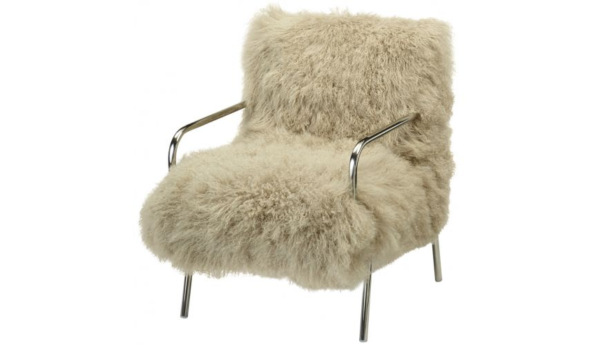 Luxury Leather & Upholstered Furniture Furry Metal Chair