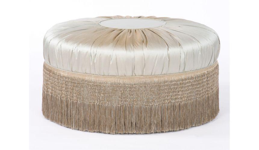 Luxury Leather & Upholstered Furniture Fancy Fabric Ottoman. Stylish Furnishings