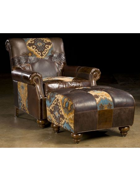 Luxury Leather & Upholstered Furniture Fashion forward leather and fabric arm chair. 12
