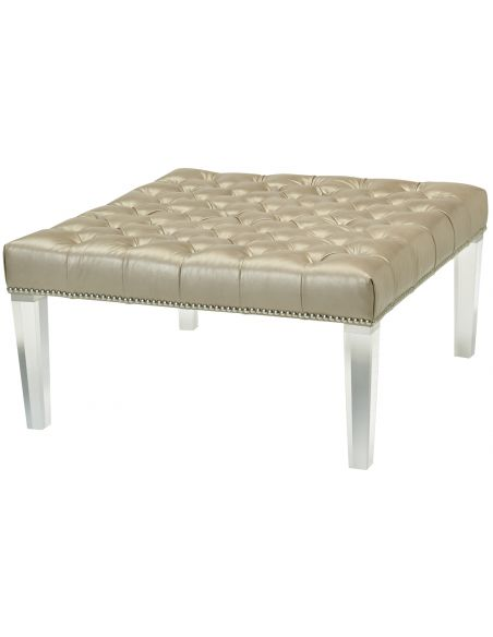 Luxury Leather & Upholstered Furniture Rectangular Tufted Ottoman