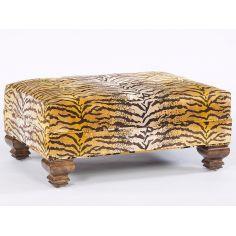 Fierce Tiger Print Fabric Ottoman. Timeless Furniture
