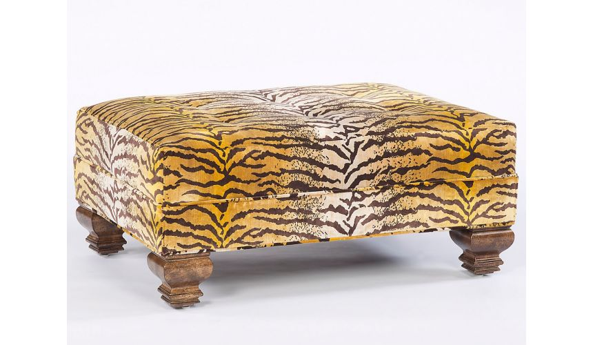 Luxury Leather & Upholstered Furniture Fierce Tiger Print Fabric Ottoman. Timeless Furniture