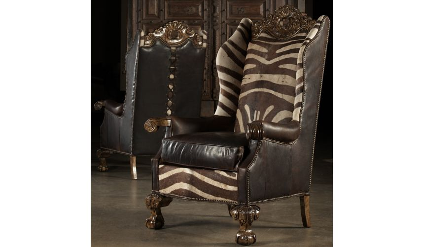 Luxury Leather & Upholstered Furniture Finely Carved Arm Chair. Fine Furnishings