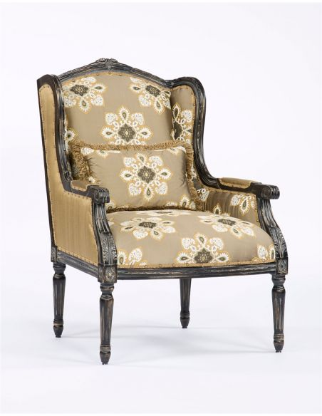Luxury Leather & Upholstered Furniture Floral Fabric Wood Frame Accent Chair