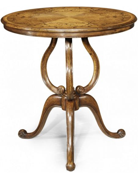 Round & Oval Side Tables Distressed Walnut Round Side Table-79