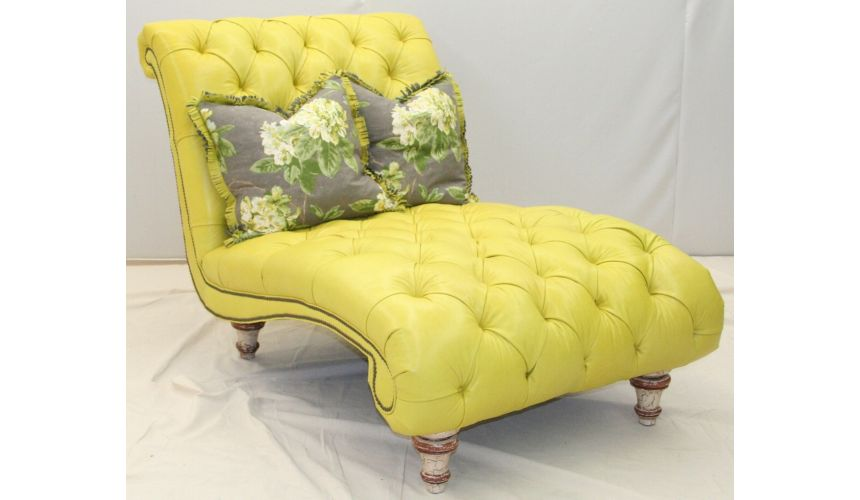 Fly by tufted yellow chaise. 55212