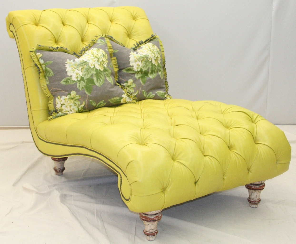 fly by tufted yellow chaise. Black Bedroom Furniture Sets. Home Design Ideas