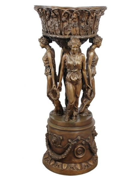 Decorative Accessories Bronze Statue of Four Maidens Holding a Planter