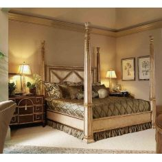 Four Poster Bed, Embossed Leather headboard.