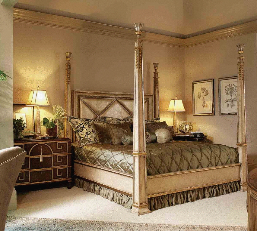 High End Master Bedroom Set Four Poster Bed Embossed Leather Headboard